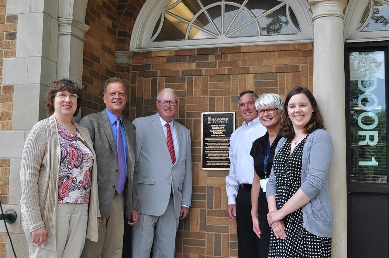 Pictured, from left, at the Hanover Township Heritage Marker at Bartlett Elementary School are: U-46 school board member Susan Kerr, Hanover Township Assessor Tom Smogolski, Hanover Township Supervisor Brian McGuire, Hanover Township Highway Commissioner Tom Schneider, Bartlett Elementary School Principal Lorelei Keltner and Emma Marston with the Village of Bartlett Museums.