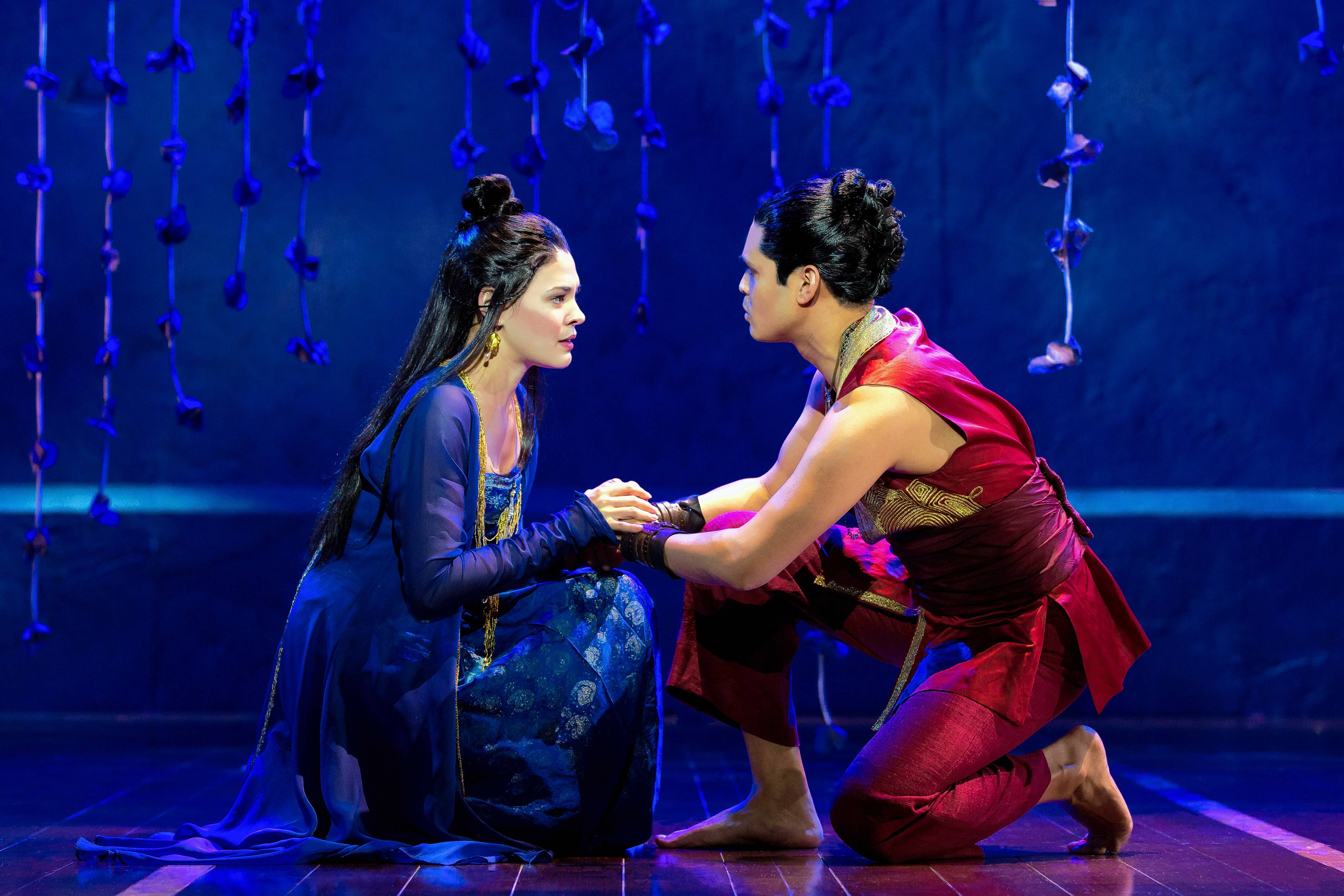"The Burmese lovers Tuptim (Manna Nichols) and Lun Tha (Kavin Panmeechao sing ""We Kiss in a Shadow"" in Lincoln Center Theater's national tour of Rodgers and Hammerstein's ""The King and I,"" which continues at the Oriental Theatre in Chicago through Sunday, July 2."
