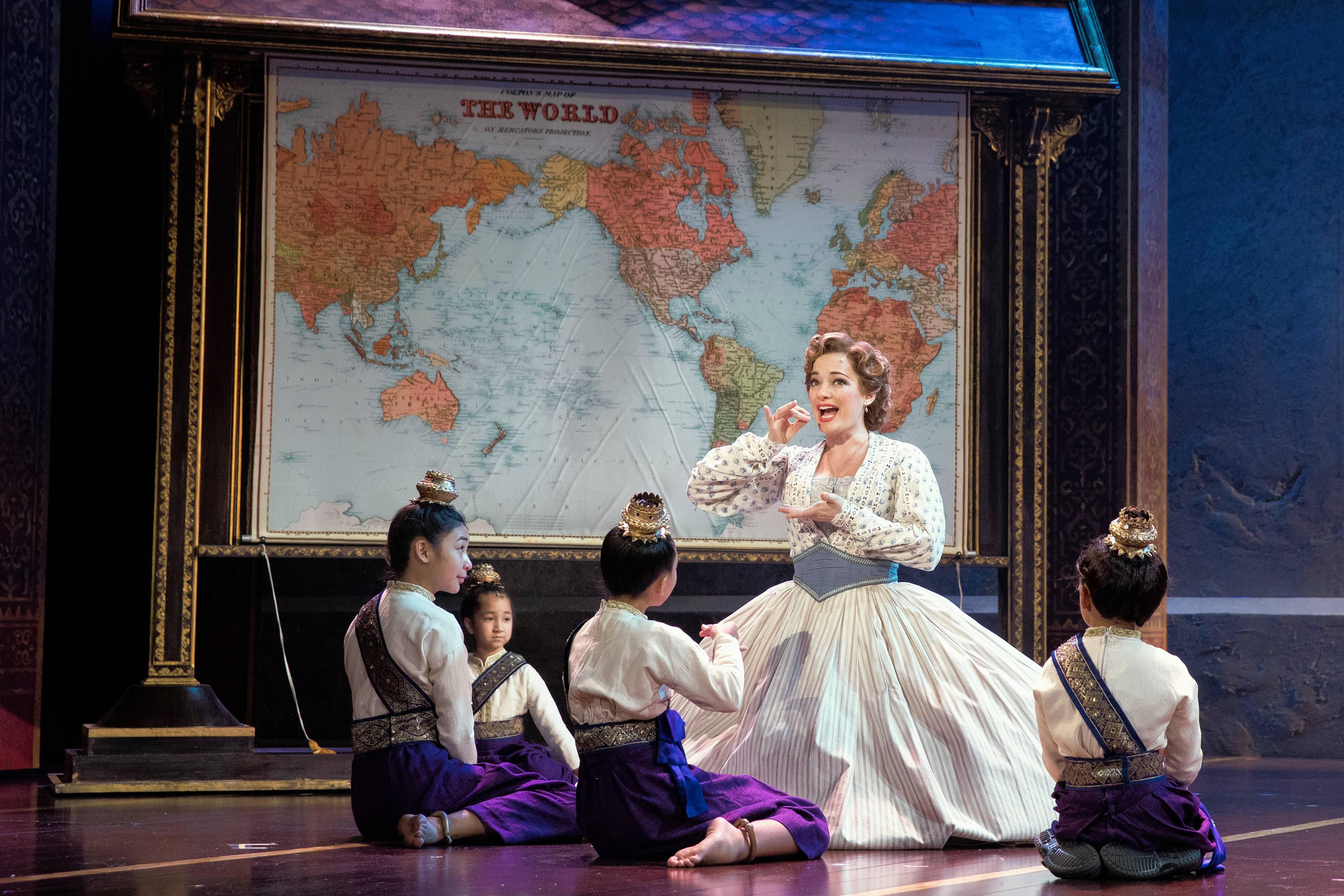 "The schoolteacher Anna Leonowens (Laura Michelle Kelly) sings the song ""Getting to Know You"" to the royal children in Lincoln Center Theater's national tour of Rodgers and Hammerstein's ""The King and I,"" which continues at the Oriental Theatre in Chicago."
