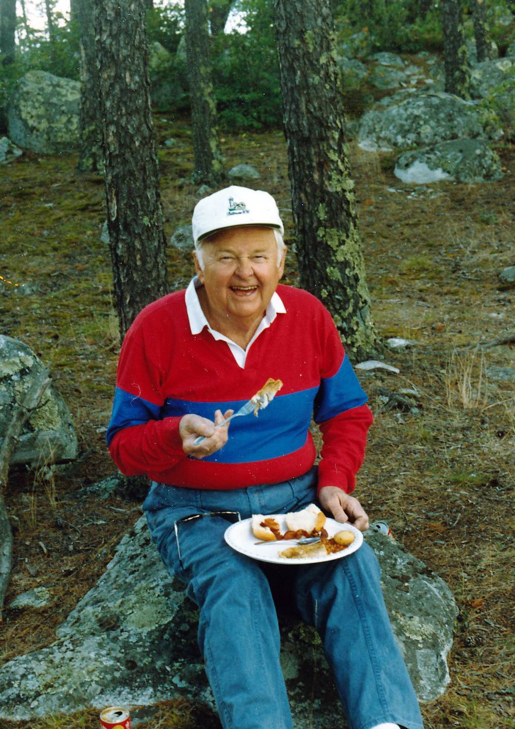 In this family photo, Stuart R. Paddock Jr. stops for lunch during a camping trip.