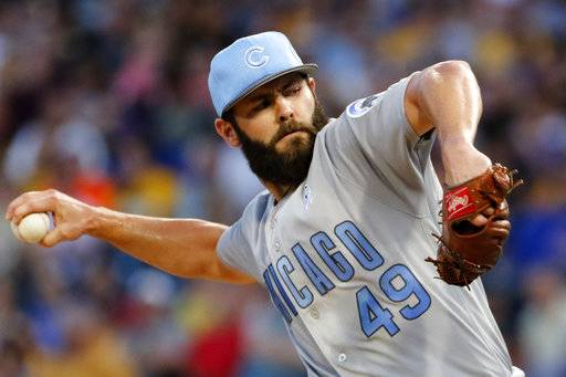 Chicago Cubs starting pitcher Jake Arrieta delivers in the first inning of a baseball game against the Pittsburgh Pirates in Pittsburgh, Saturday, June 17, 2017.