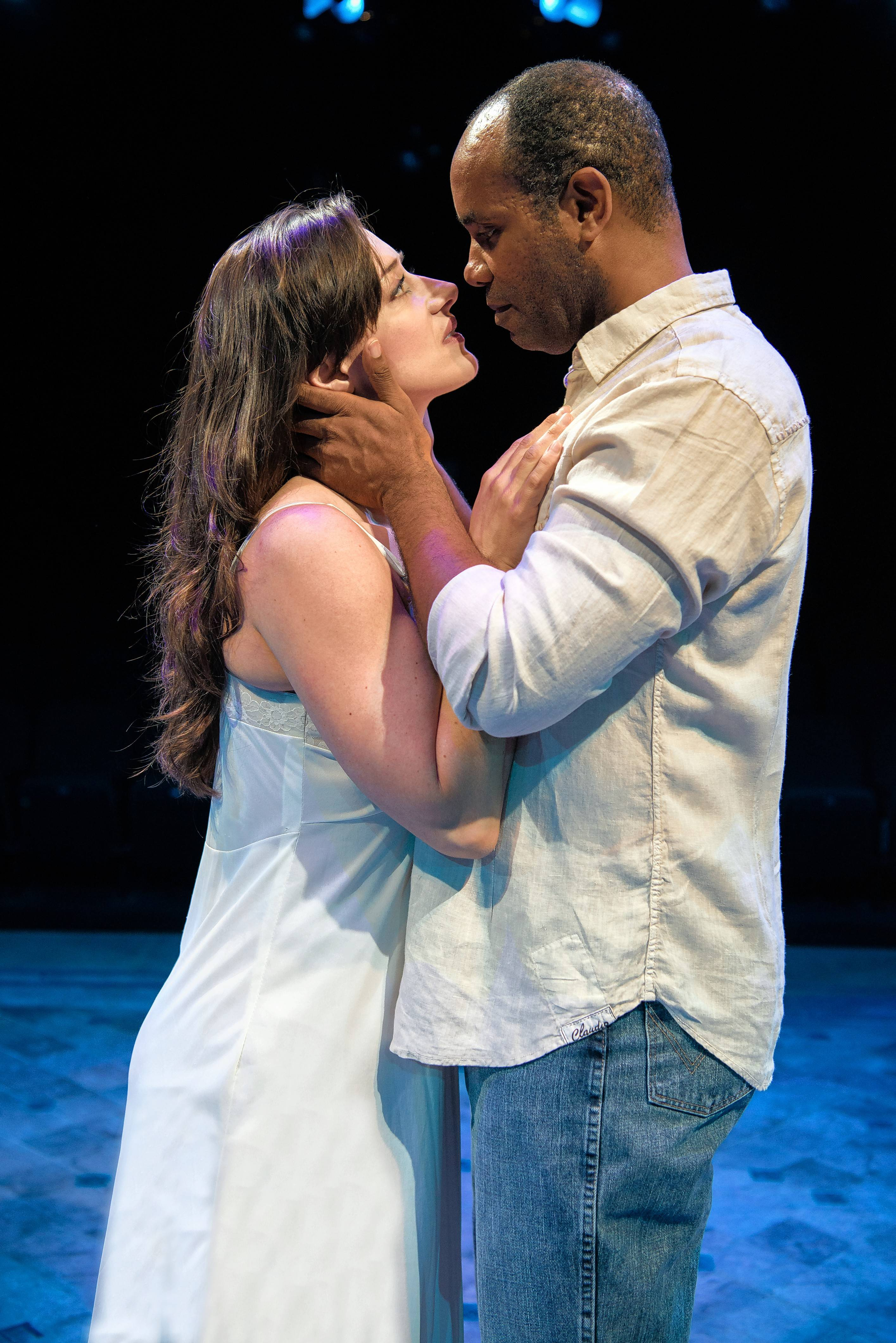 "Broadway veterans Kathy Voytko and Nathaniel Stampley play Francesca and Robert in ""The Bridges of Madison County"" at the Marriott Theatre."