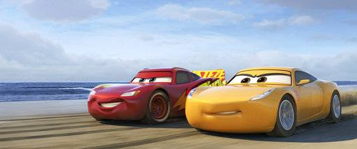 "Lightning McQueen (voiced by Owen Wilson), left, and Cruz Ramirez (voiced by Cristela Alonzo) star in ""Cars 3."""