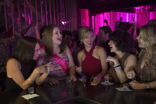 "This image released by Sony Pictures shows Zoe Kravitz, from left, Jillian Bell, Scarlett Johansson, Ilana Glazer and Kate McKinnon in a scene from ""Rough Night."" (Macall Polay/Sony, Columbia Pictures via AP)"