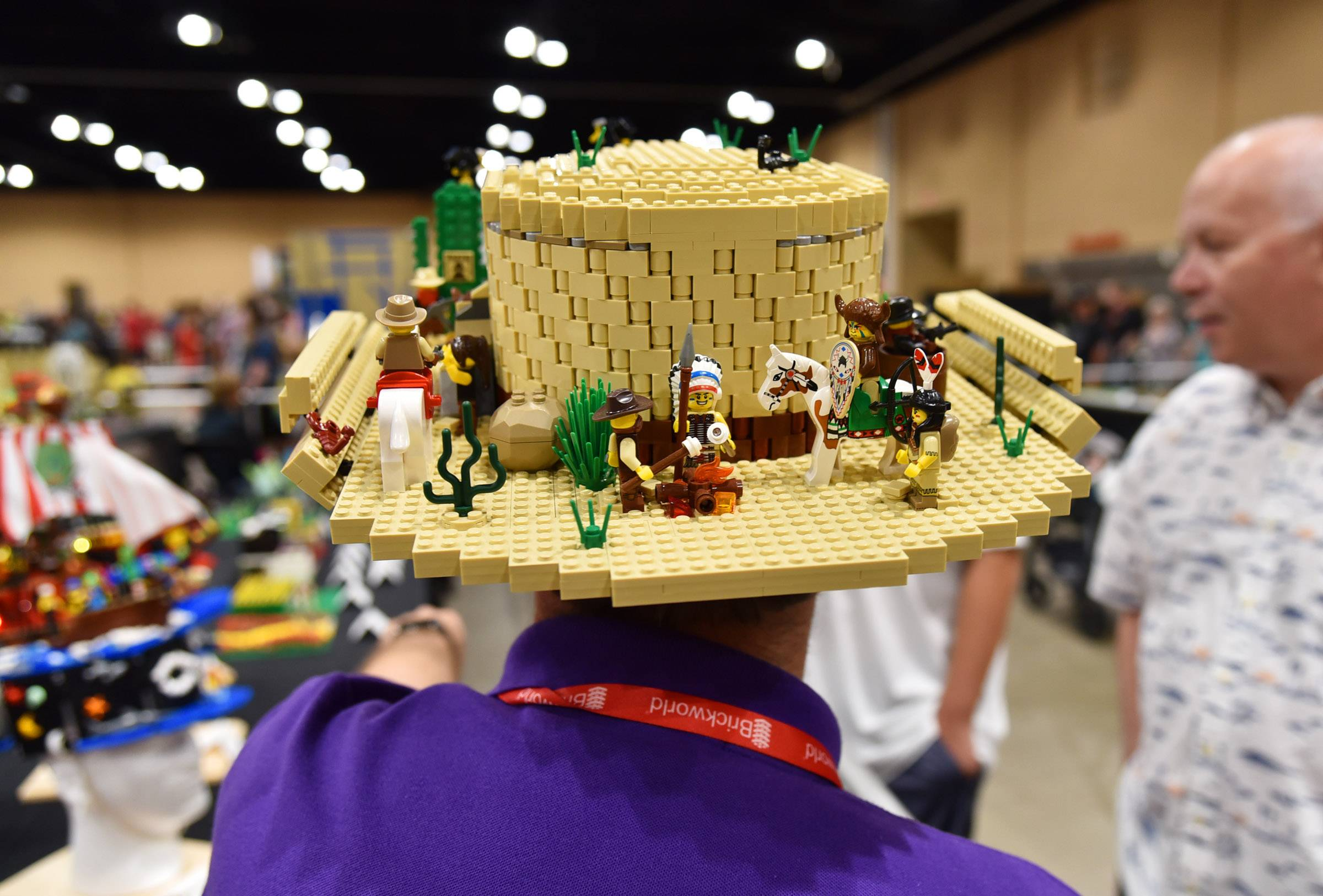 Mike Schmidt of Cincinnati wears his gambler-style western hat, made entirely from Lego bricks, on Sunday, at the 10th annual Brickworld Chicago LEGO Exposition at the Schaumburg Renaissance Convention Center. He has made at least a dozen different hats from Legos.