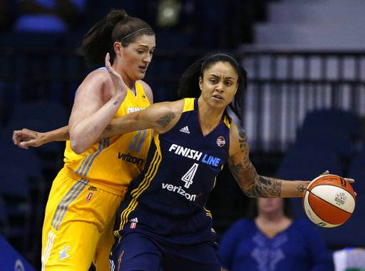 Indiana Fever forward Candice Dupree, right, drives against Chicago Sky center Stefanie Dolson during the first half of a WNBA basketball game Sunday, June 18, 2017, in Rosemont, Ill.