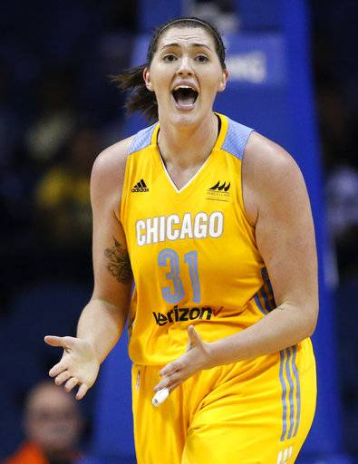 Chicago Sky center Stefanie Dolson reacts to a call during the second half of a WNBA basketball game against the Indiana Fever Sunday, June 18, 2017, in Rosemont, Ill.