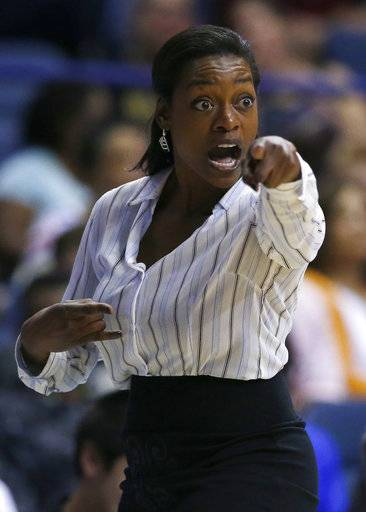 Chicago Sky head coach Amber Stocks points as she talks to her team during the first half of a WNBA basketball game against the Indiana Fever, Sunday, June 18, 2017, in Rosemont, Ill.