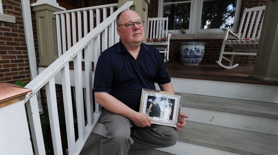 Eric Jakubowski of Mount Prospect thinks a signal at the Central Road crosswalk near Melas Park gives pedestrians a false sense of security. His wife was killed there a year ago.