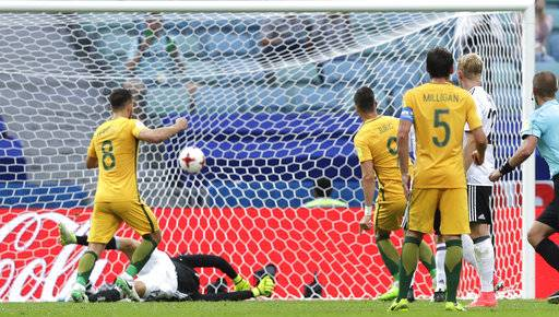 Australia's Tomi Juric, 4th right, scores during the Confederations Cup, Group B soccer match between Australia and Germany, at the Fisht Stadium in Sochi, Russia, Monday, June 19, 2017.