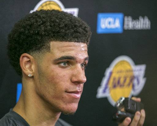 FILE - In this June 7, 2017, file photo, University of California Los Angeles guard Lonzo Ball takes questions from the media after a closed Los Angeles Lakes pre-draft workout in El Segundo, Calif. Ball's mental steadiness is one big reason he's almost certain to be a top-three pick at the NBA Draft on Thursday.