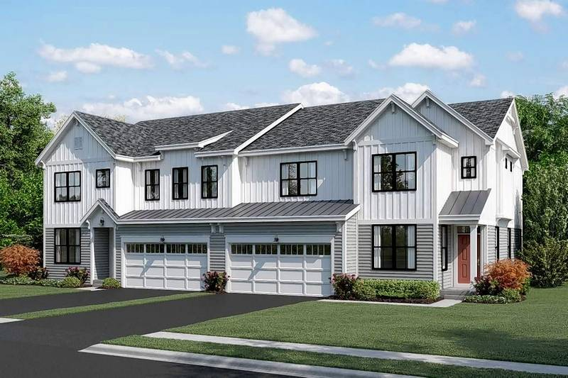 Naperville debates appearance oks duplex plan without brick for Modern farmhouse plans with photos