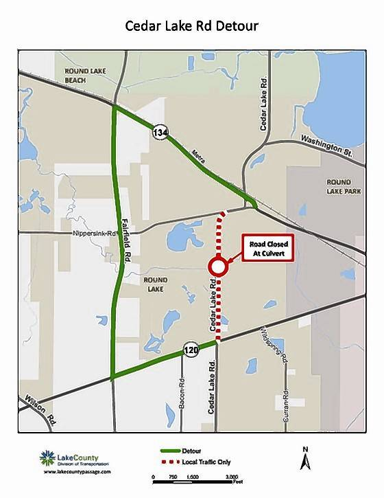 Cedar Lake Road to close in Round Lake