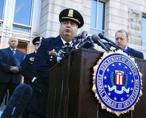 United States Capitol Police Chief Matthew Verderosa, with Federal Bureau of Investigation Washington Field Office, Special Agent in Charge Timothy Slater, back right, speaks to reporters outside the FBI Washington Field Office, Wednesday, June 21, 2017 in Washington, during a news conference about the investigative findings to date in the shooting that occurred at Eugene Simpson Stadium Park in Alexandria, Va. on Wednesday, June 14, 2017.