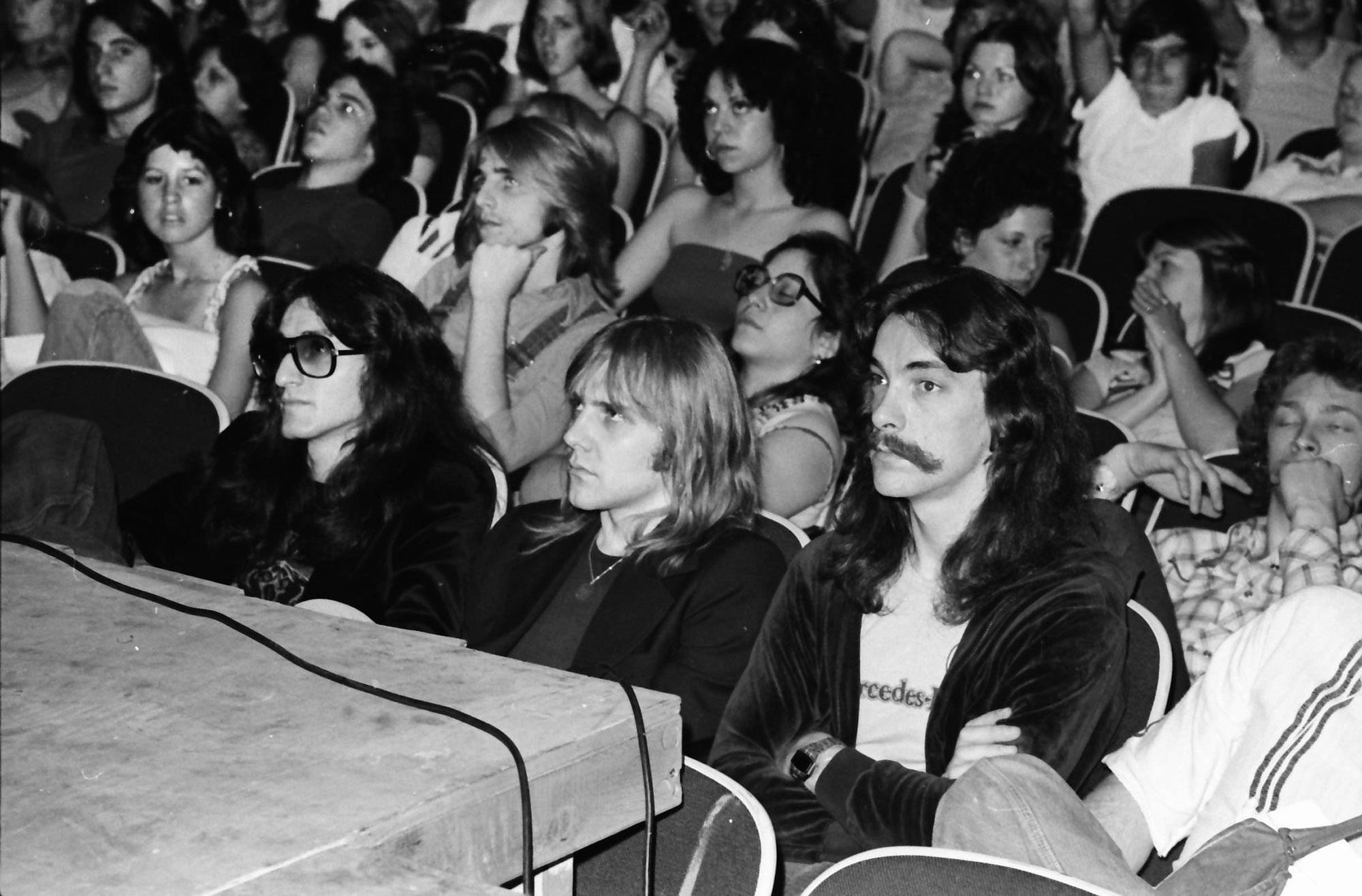 Canadian rock band Rush visited Hersey High School in Arlington Heights 40 years ago. They did not perform but answered questions from the Hersey students after watching a slideshow, according to Circus Magazine in 1977. Rush is known for their complex musicianship and are still performing and recording today. From left in the front row are vocalist Geddy Lee, guitarist Alex Lifeson and percussionist Neil Peart.