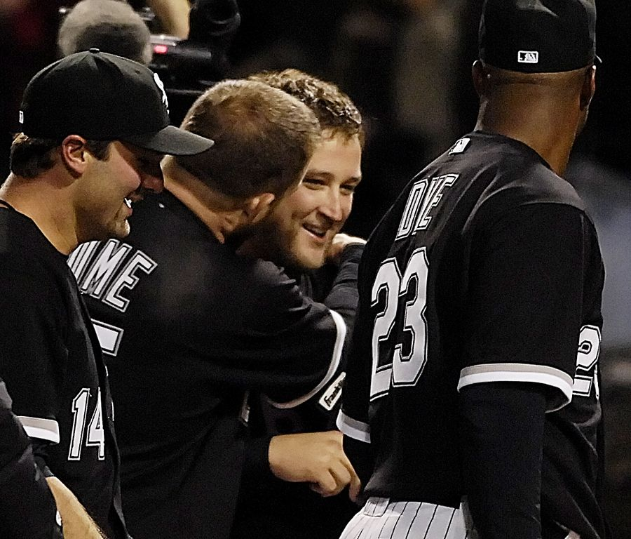 White Sox designated hitter Jim Thome hugs starter Mark Buehrle after his no-hitter against the Texas Rangers in 2007.