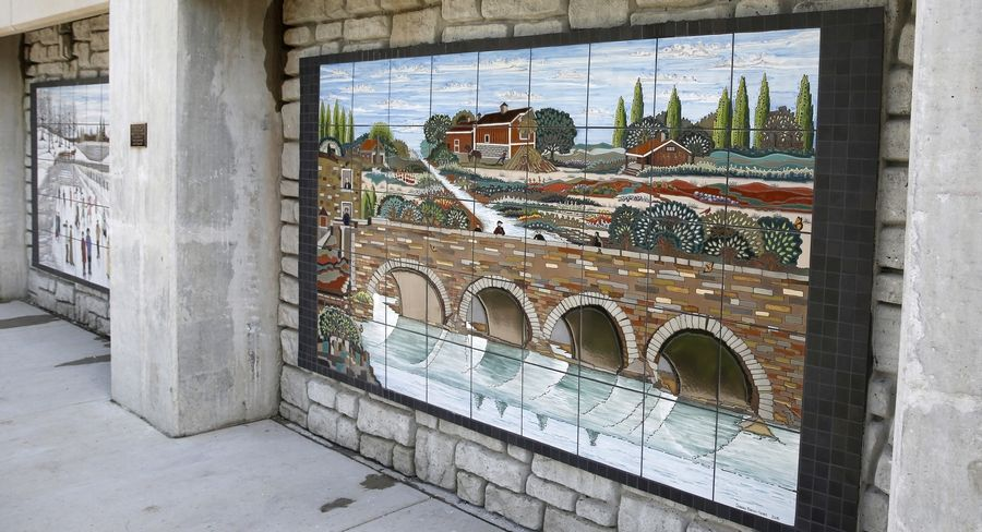 "Ceramic tile muralist Debora Duran-Geiger created ""Harvest Time"" which was donated by Dominic Imburgia at the Water Street District in downtown Naperville."