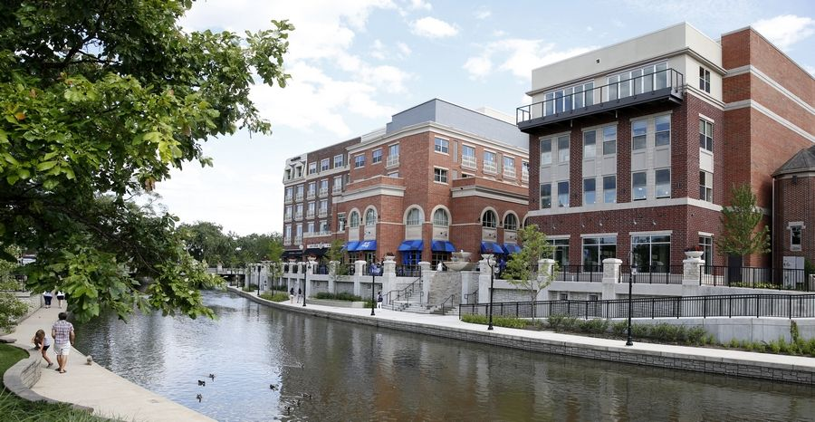 The downtown Naperville Riverwalk now features a completed Water Street District.