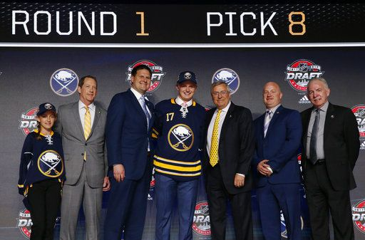 fbd3e1ca1f5 Casey Mittelstadt, center, holds a Buffalo Sabres jersey after being  selected by the team