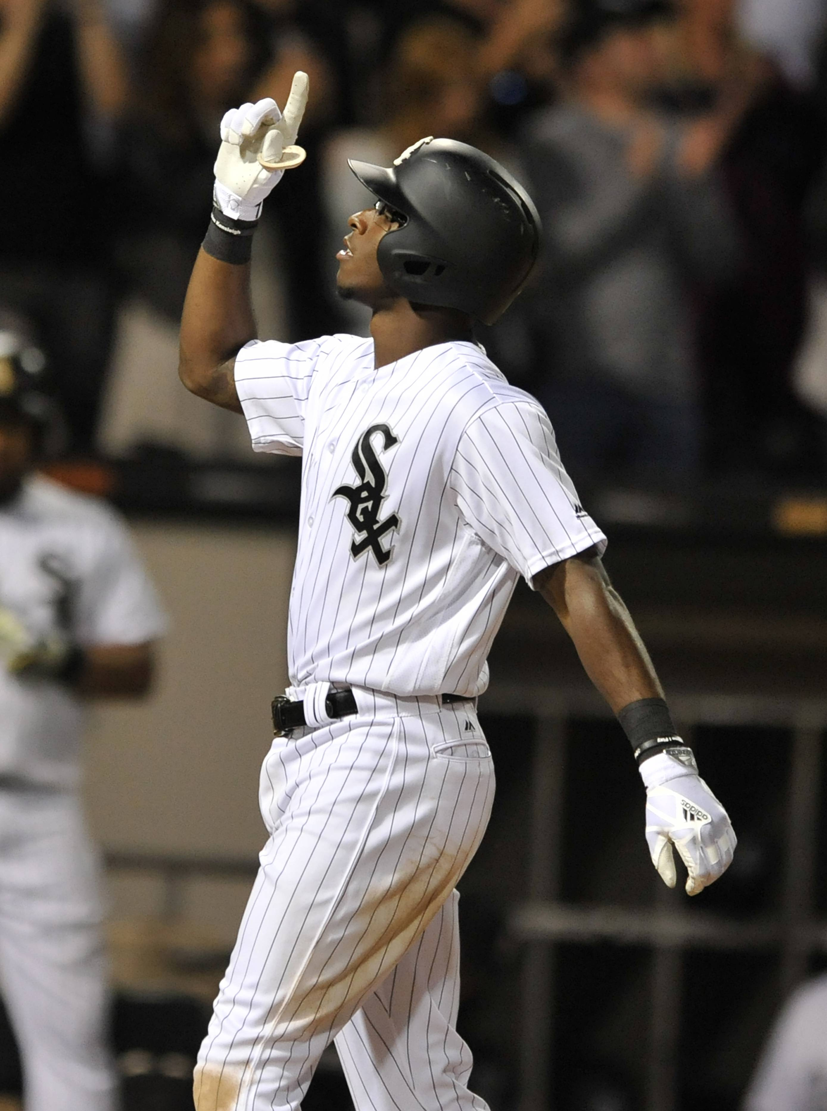 Chicago White Sox's Tim Anderson celebrates at home plate after hitting a three-run home run during the ninth inning of a baseball game against the New York Yankees, Monday, June 26, 2017, in Chicago. New York won 6-5. (AP Photo/Paul Beaty)