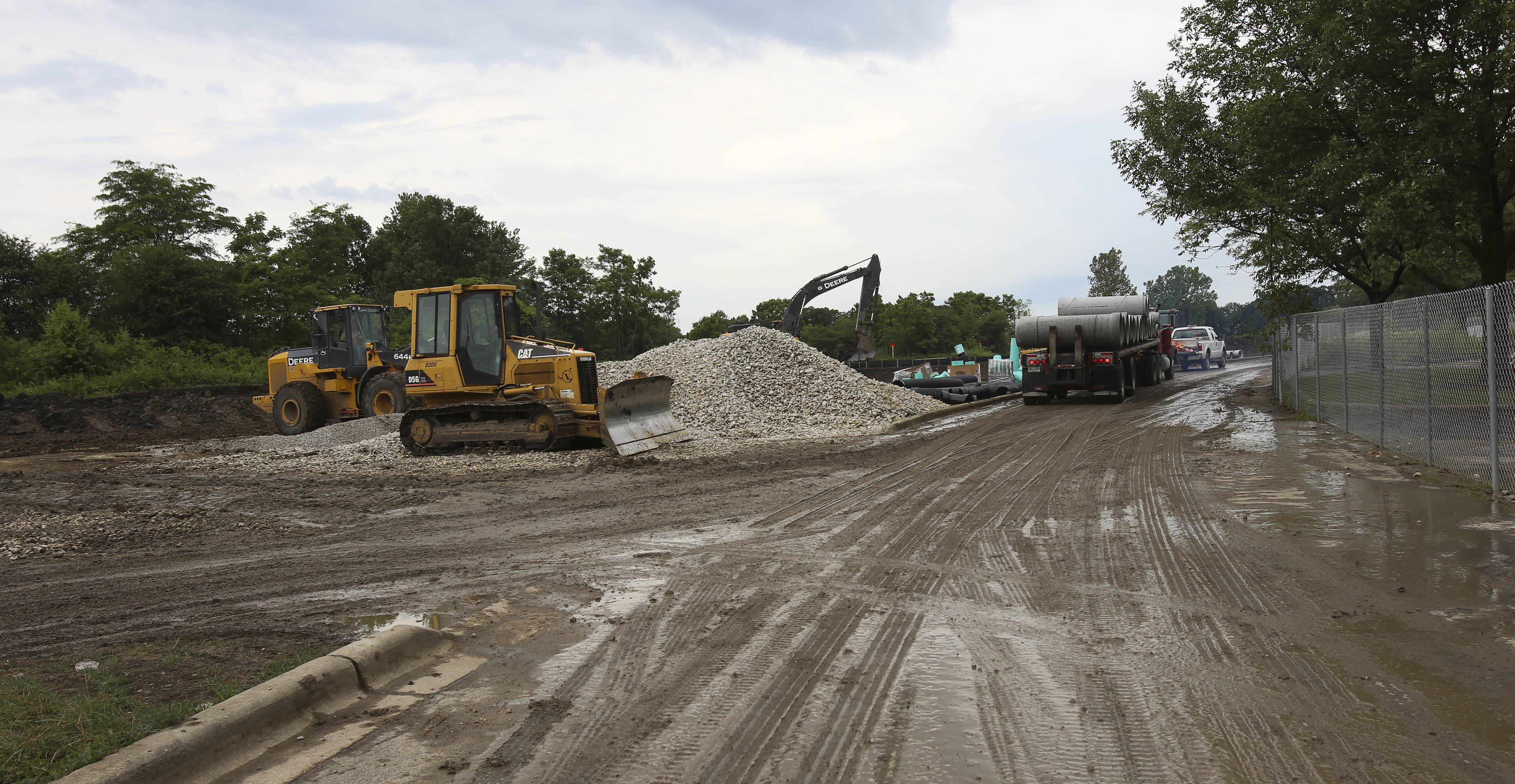 Crews are expanding the south parking lot at Cantigny Park in Wheaton.