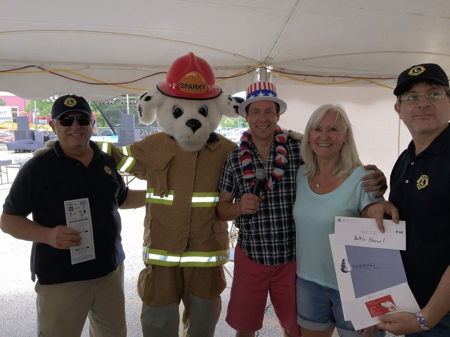 Sparky the Fire Dog will return to Barrington Lions Club bratwurst tent for this year's Fourth of July celebration.