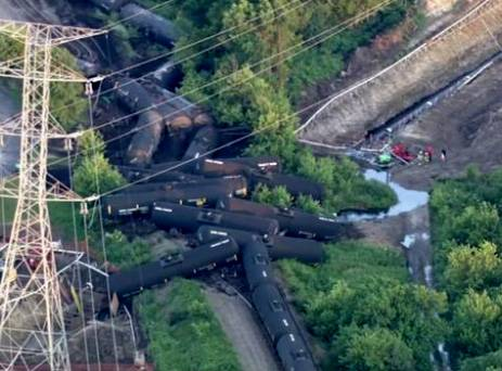Emergency crews are on the scene of a freight train derailment in far southwest suburban Plainfield Friday evening.