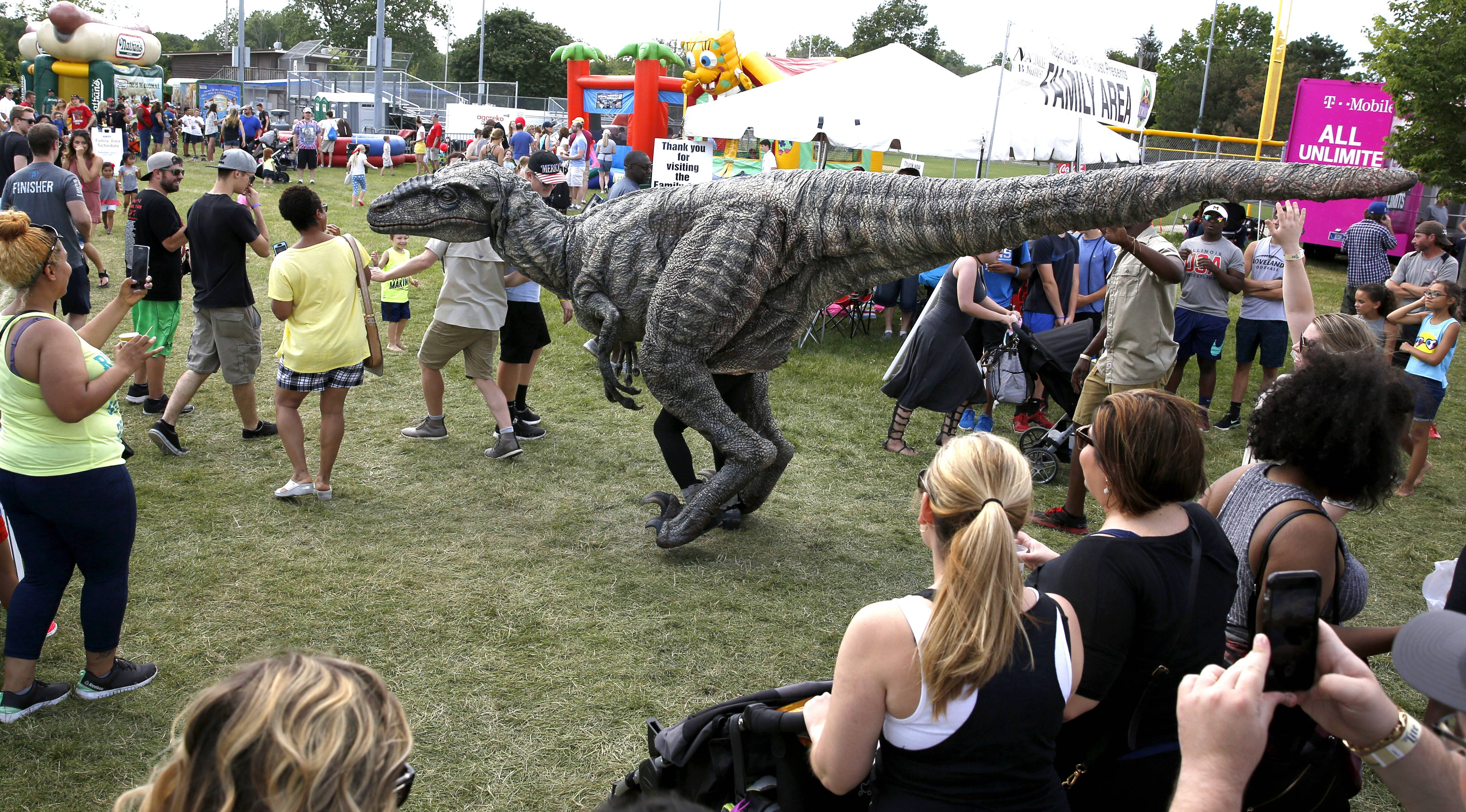 A reminder to attend the Jurassic World Exhibition at the Field Museum makes its way through Ribfest in Naperville.