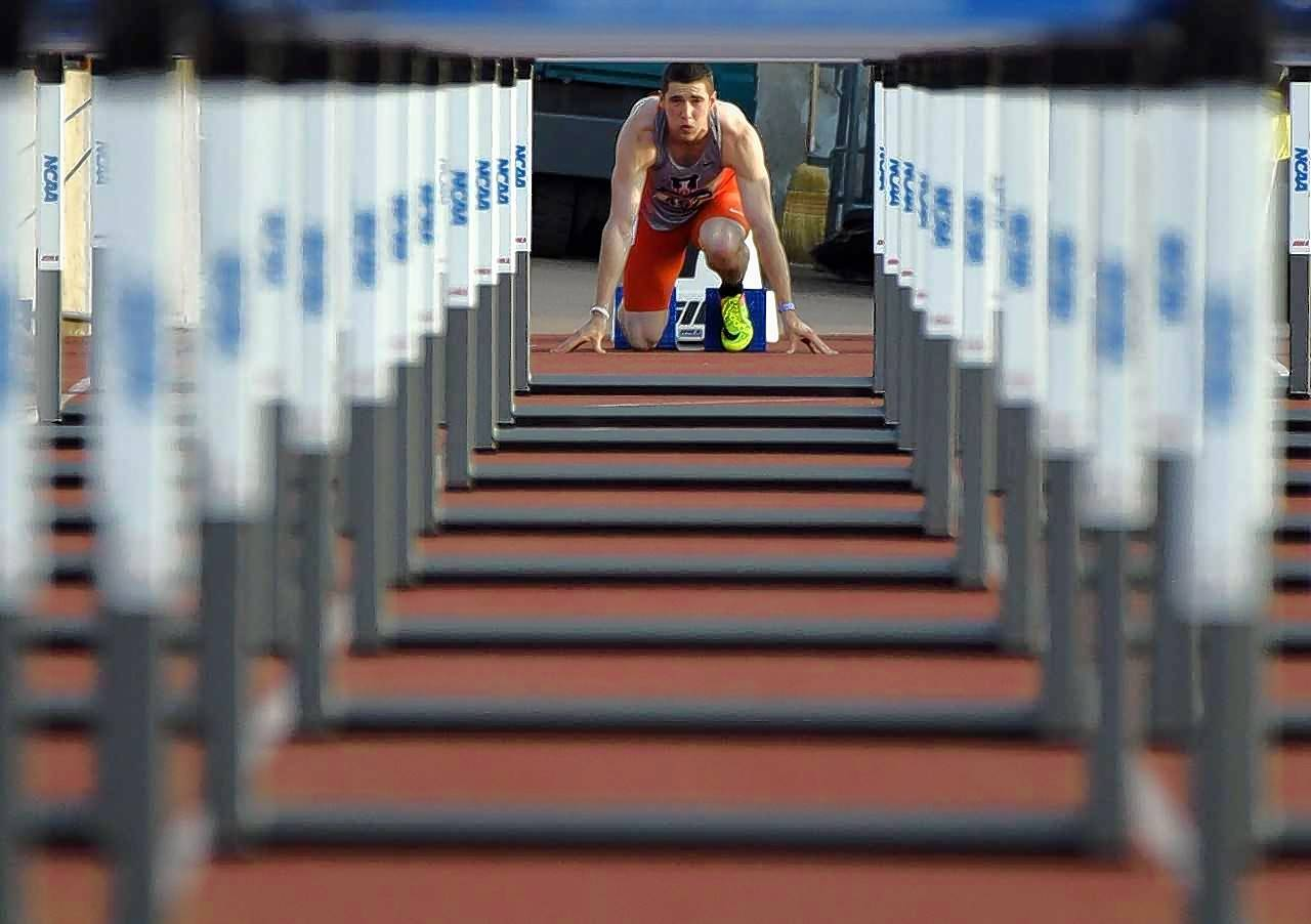 Senior hurdler David Kendziera is ready at the starting line during the NCAA preliminaries in May.