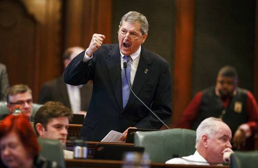 Illinois State Rep. David Harris, R-Arlington Heights, yells during the overtime session at the state Capitol, Sunday, July 2, 2017, in Springfield, Ill. The Illinois House has approved an income tax increase as part of a plan to end the nation's longest budget standoff. (Justin L. Fowler/The State Journal-Register via AP)