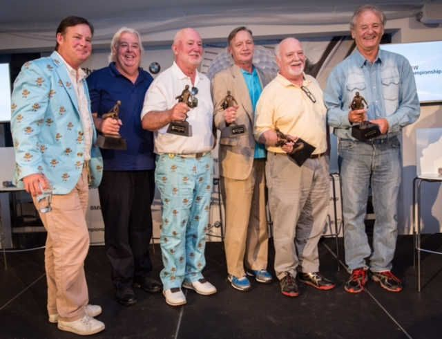 "Actor Bill Murray, right, and his five brothers -- from right, Brian, Johnny, Ed, Andy and Joel -- plan to open their golf-themed bar/restaurant this December in Rosemont. The brothers, whose experiences as caddies at Indian Hill Club in Winnetka inspired the 1980 comedy classic ""Caddyshack,"" were inducted into the Caddie Hall of Fame in 2015."
