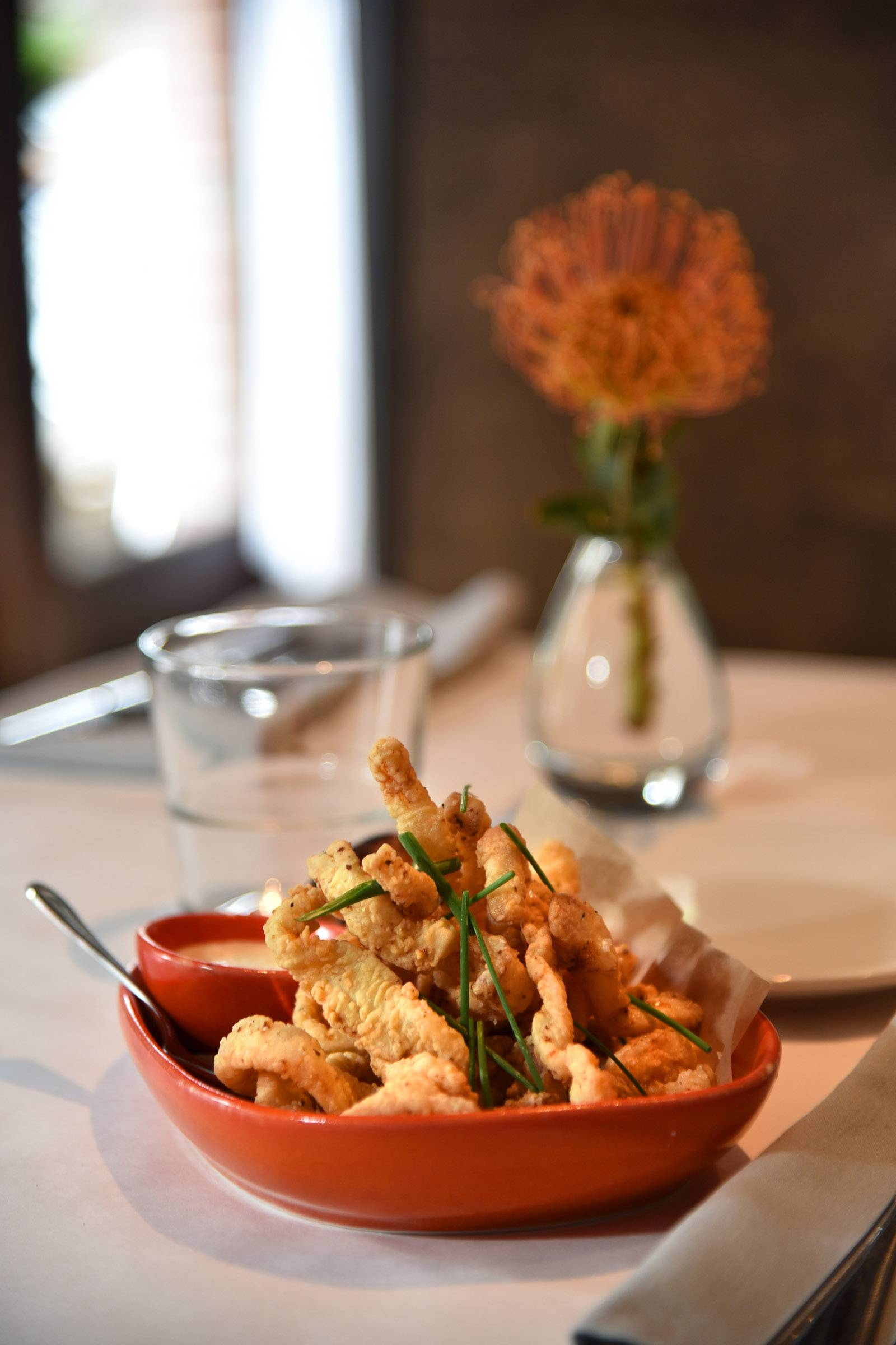 Calamari and Shrimp Fritto pairs the two seafood favorites with a lemon aioli at Livia Italian Eatery in Geneva.
