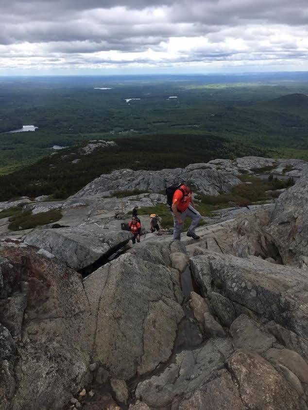 Members of the Multiple Myeloma Research Foundation scale Mount Monadnock in New Hampshire in preparation for the fundraising climb of Mt. Fuji in Japan.