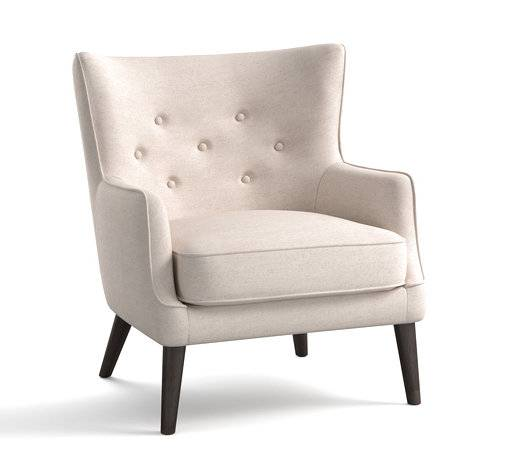 Modern This undated photo provided by Pottery Barn shows the Manning upholstered wing chair from Pottery Barn New Design - Amazing modern wingback chair