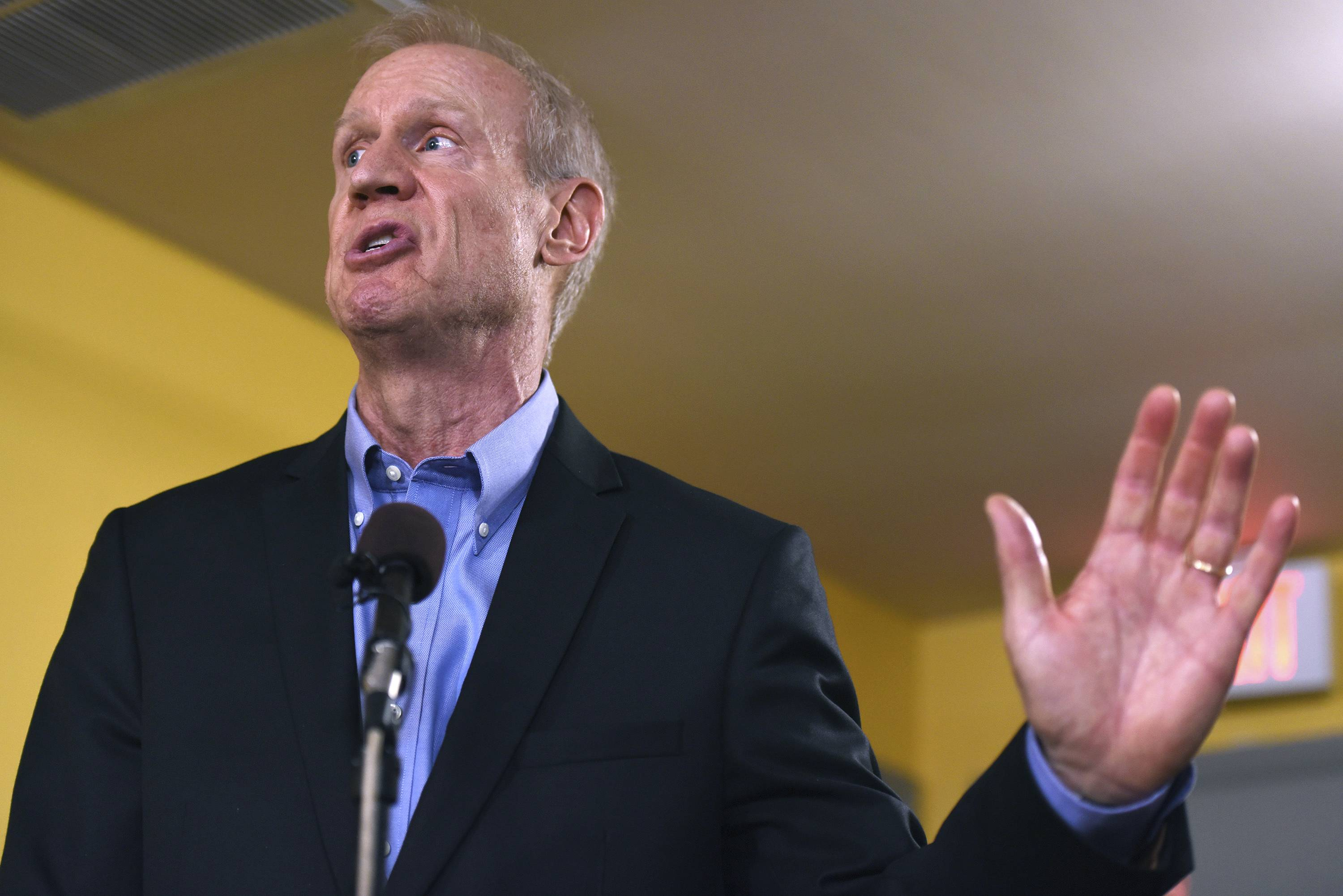 Illinois Gov. Bruce Rauner speaks during a news conference, Wednesday, July 5, 2017, in Chicago. Governor Rauner vetoed on Tuesday a package of legislation that raised the income tax by a permanent 32 percent to finance a $36 billion spending plan, which would be Illinois' first budget since 2015. Michael Madigan, the speaker of the Illinois House has scheduled a vote for Thursday to override the governor's veto of budget package, ending a budget stalemate that has lasted more than two years.