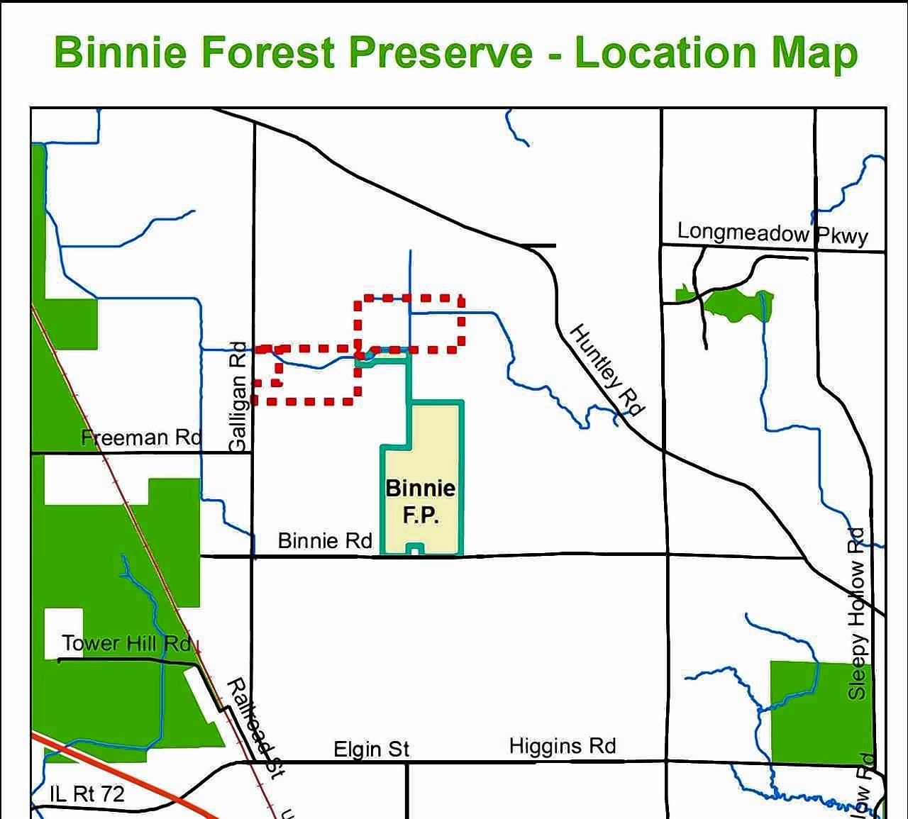 The dotted area on the map shows two land parcels totaling nearly 150 acres the Kane County Forest Preserve District is targeting for purchase near Binnie Forest Preserve.