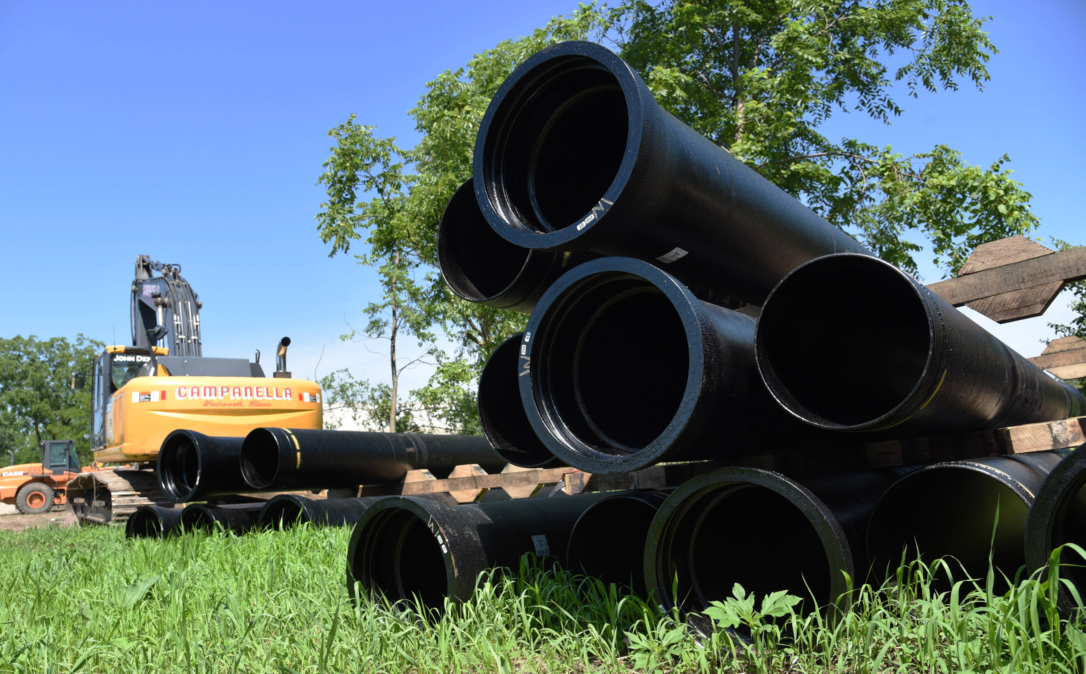 Pipes along a construction site near Falling Waters Boulevard in Lindenhurst.