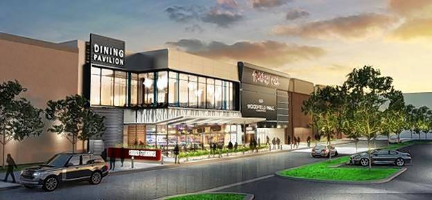 A rendering of the exterior of Woodfield Mall in Schaumburg near the planned 820-seat dining pavilion on the upper level of the Sears wing.
