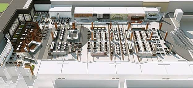 A rendering of the planned 820-seat dining pavilion on the upper level of the Sears wing at Woodfield Mall in Schaumburg.