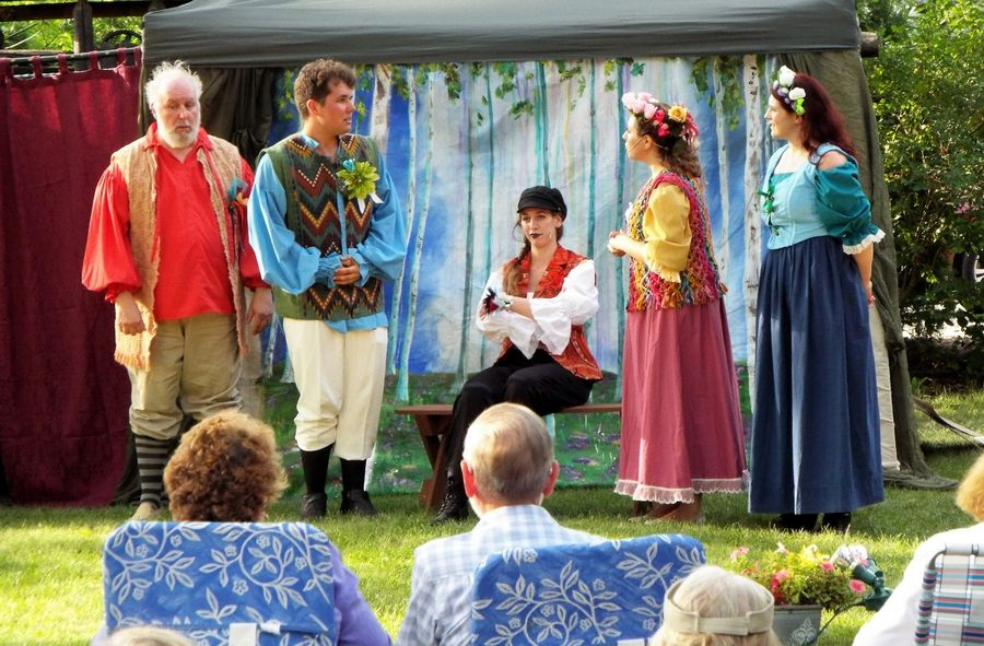 "Midsummer Theatre Troupe members Gary Puckett, Cam Tucker, Amaria Von Dran, Nicolette Pollack and Heidi Schultz, above, and troupe member Dan McQuaid and Executive Director Kristen Duerdoth, far left, will perform in ""As You Like It"" July 15 in Geneva's RiverPark."