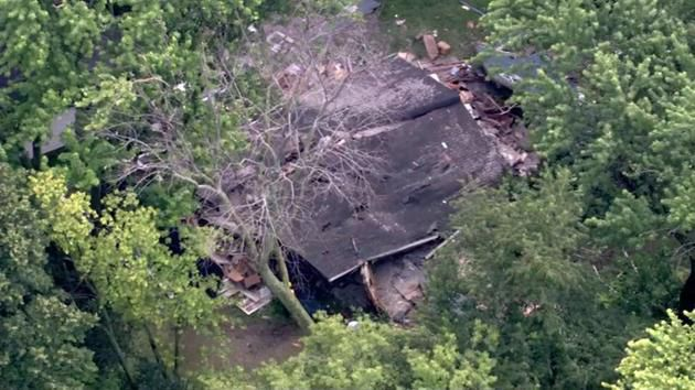 An aerial view of a house that exploded in Libertyville Wednesday afternoon. No one was home at the time of the explosion.