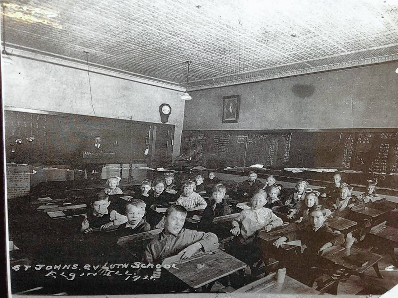 Students pose for a class photo in 1920 in St. John's Lutheran School of Elgin. The school celebrated its 150th anniversary this year.