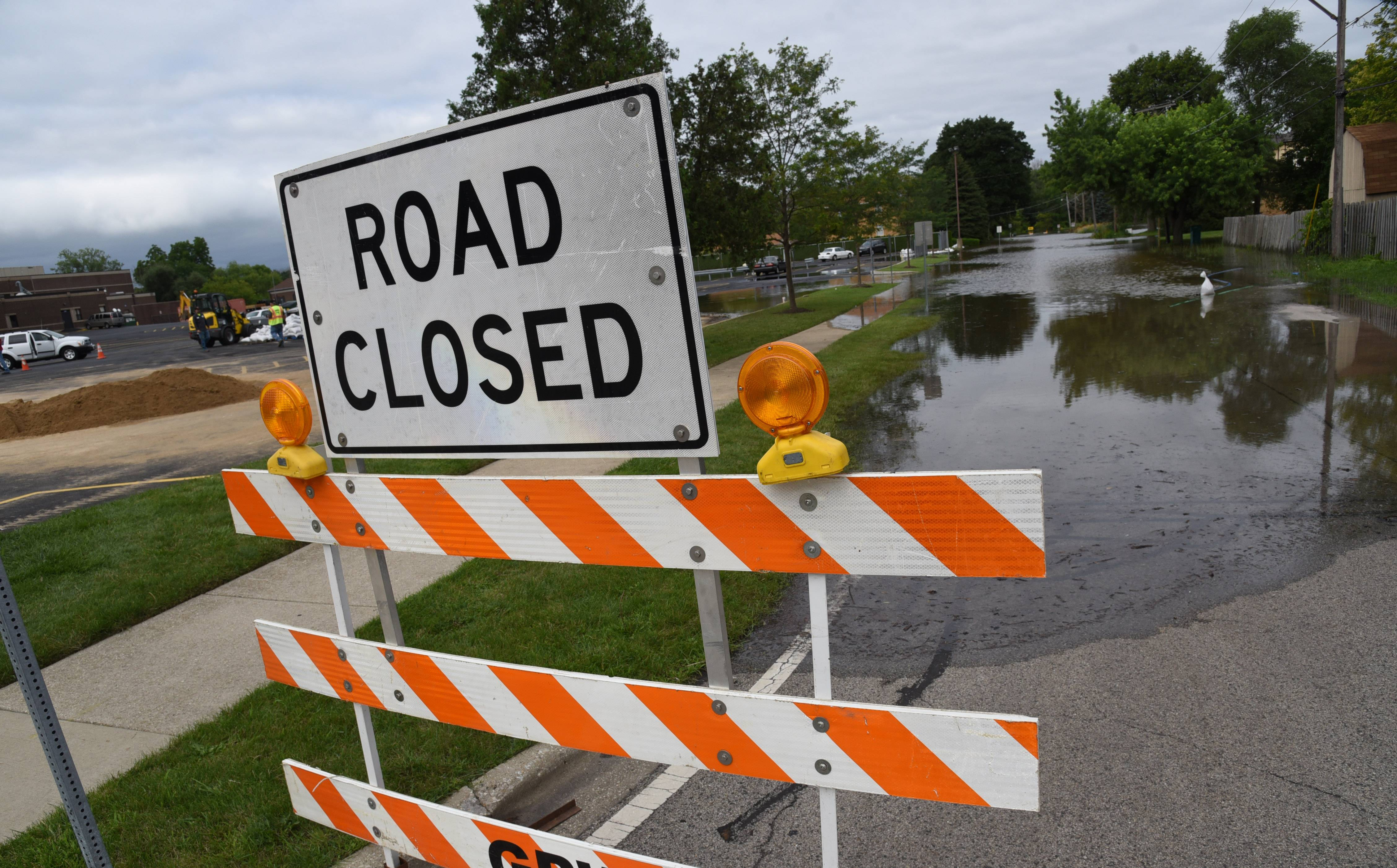 Rising water from the Des Plaines River covers McClure Avenue in Gurnee Friday.