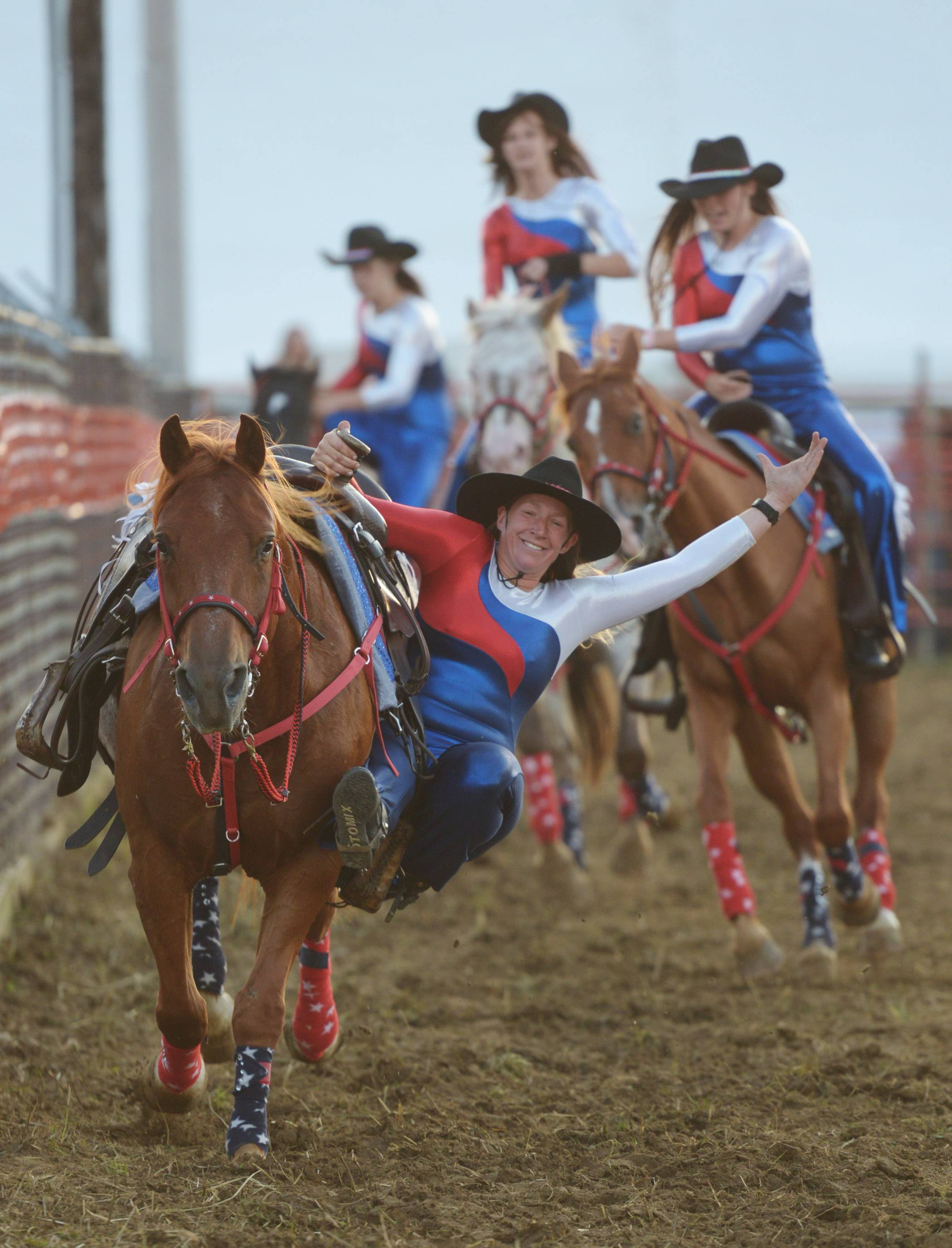 Jenny Vlahos of the Midwest Renegades Drill Team performs during the 54th annual IPRA Championship rodeo Saturday in Wauconda.