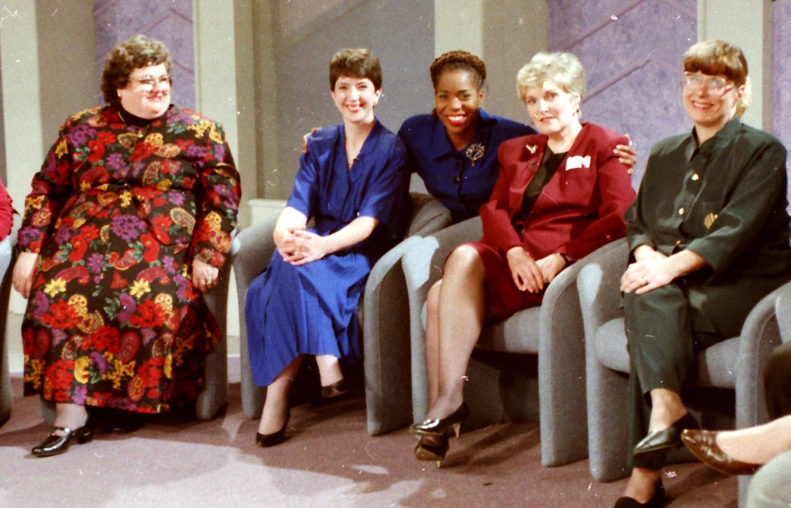 "After her book, ""Where Angels Walk,"" made best-seller lists, author Joan Wester Anderson, second from right, appeared with others on the WTTW Chicago set of the ""Bertice Berry Show"" in 1993 for a discussion about angels. Anderson, now 78 and living in Wheeling, wrote new material for a 25th Anniversary Edition of her book."
