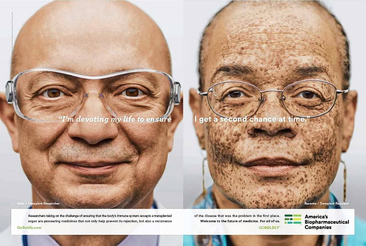Dr. Salim Mujais, at left, a senior vice president at Northbrook-based Astellas Pharma and a researcher in new treatments for organ transplant patients, is featured in new ads from America's Biopharmaceutical Companies. He is joined in the ads by Roxanne Watson of New York.