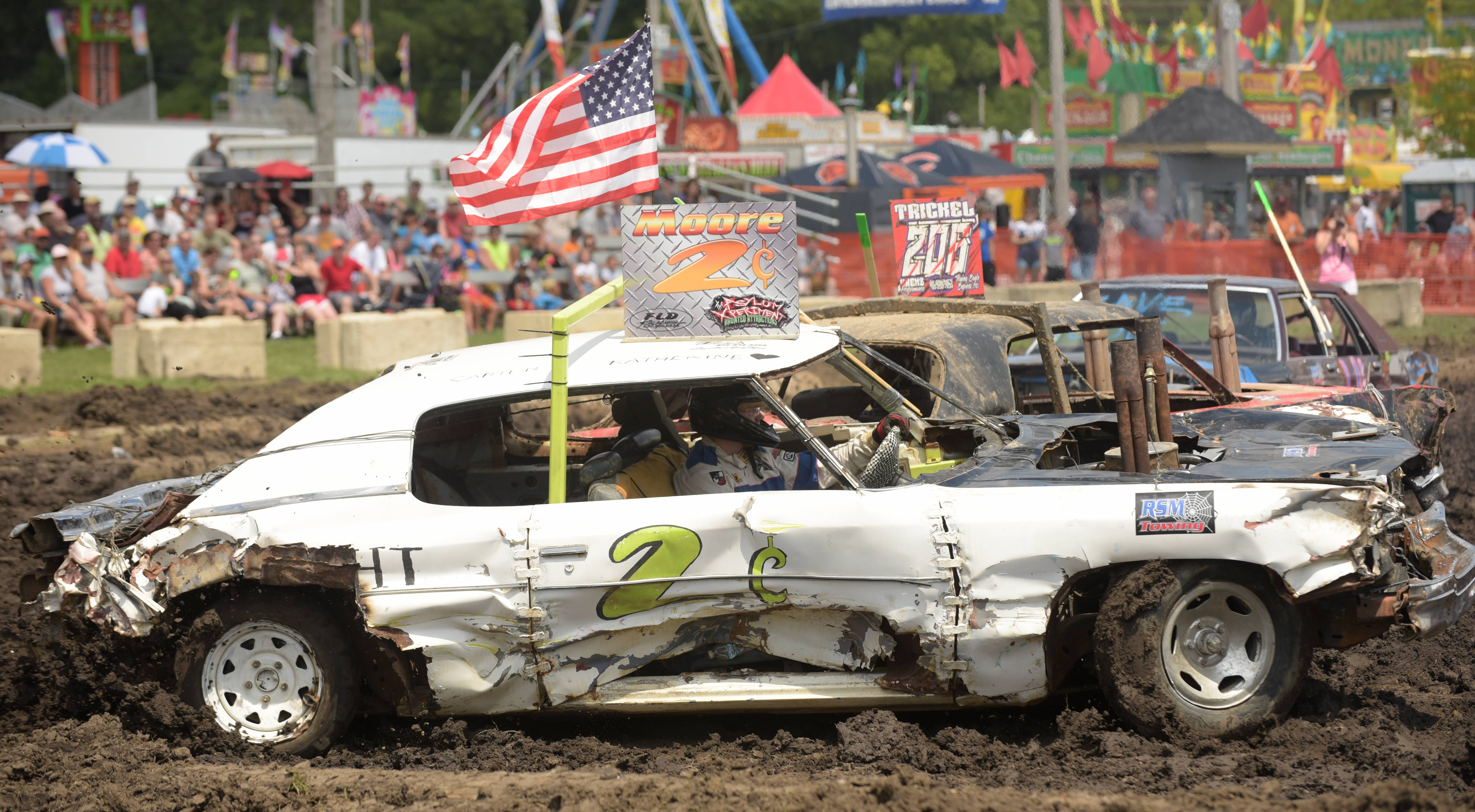 Crashes abound at the annual demolition derby at the DuPage County Fair.