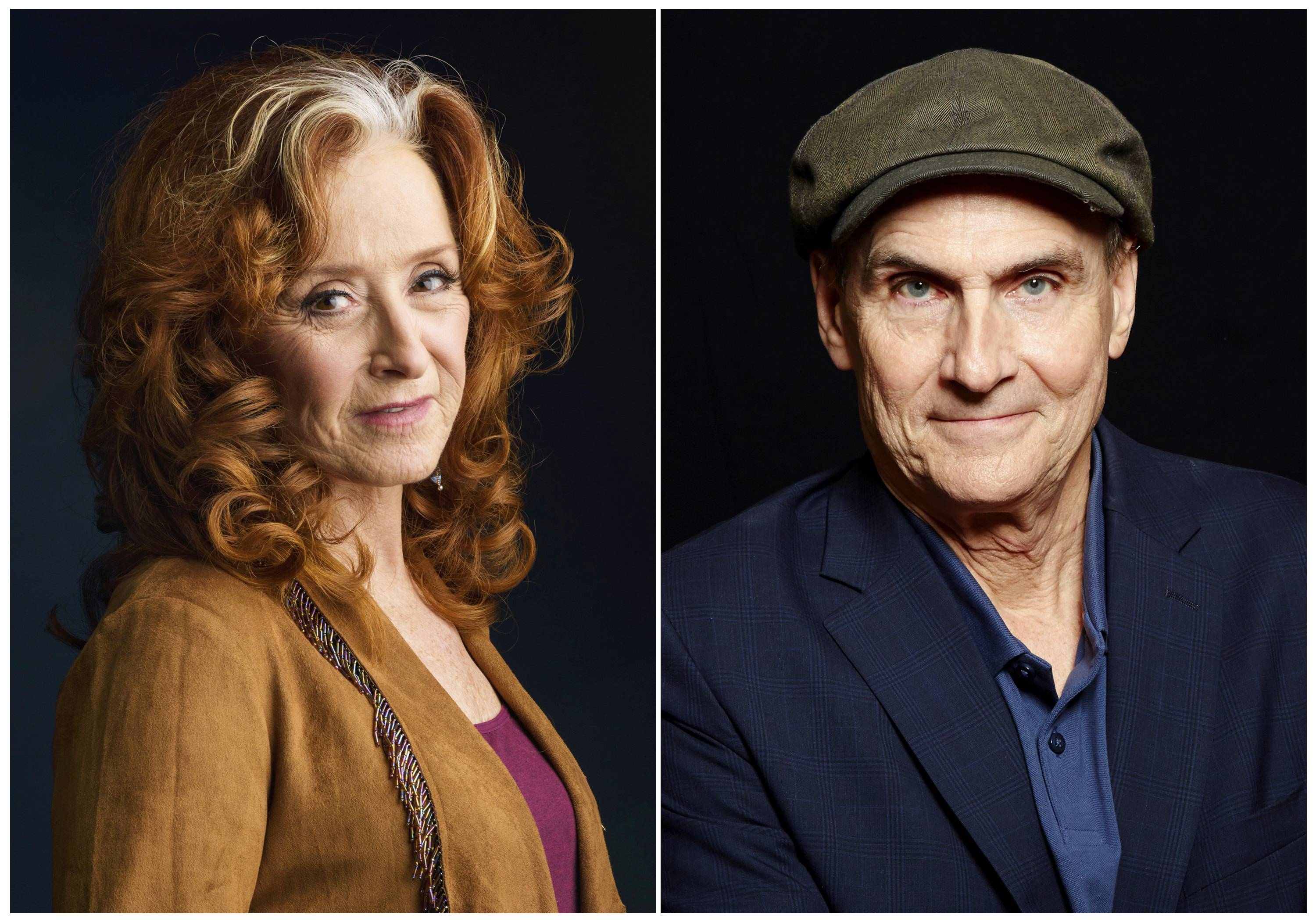 Bonnie Raitt, left, and James Taylor team up for a concert at Chicago's Wrigley Field on Monday, July 17.