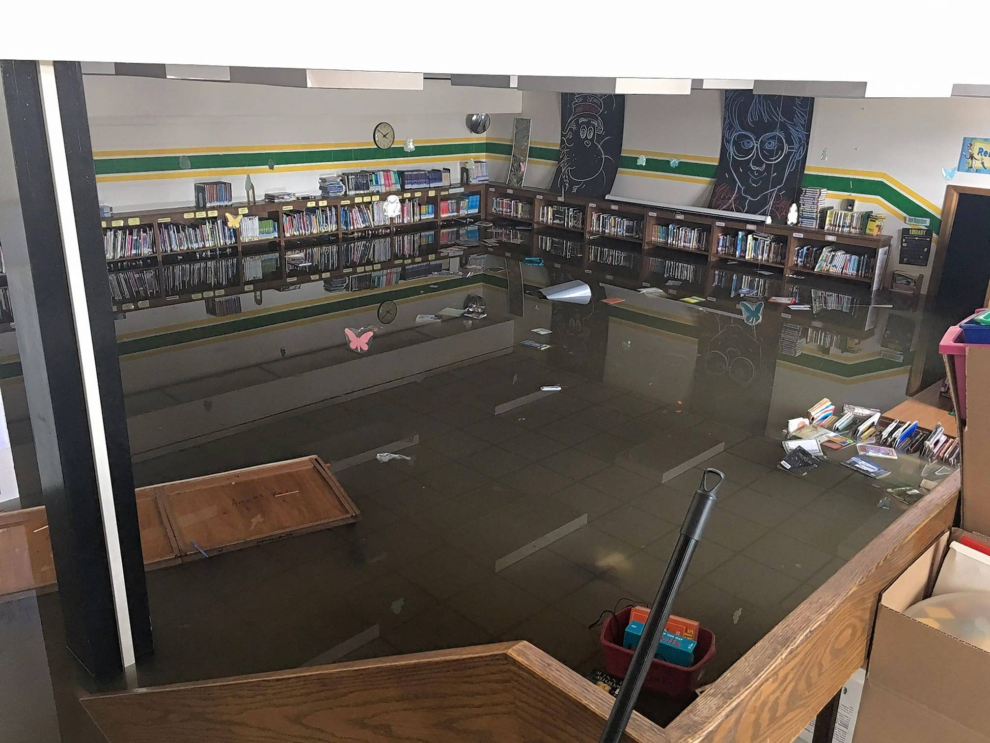 Flooding caused severe damage last week at Murphy Elementary School in Round Lake. The Round Lake Area Schools Education Foundation is collecting donations to help repair damage and replace materials lost in the flooding.