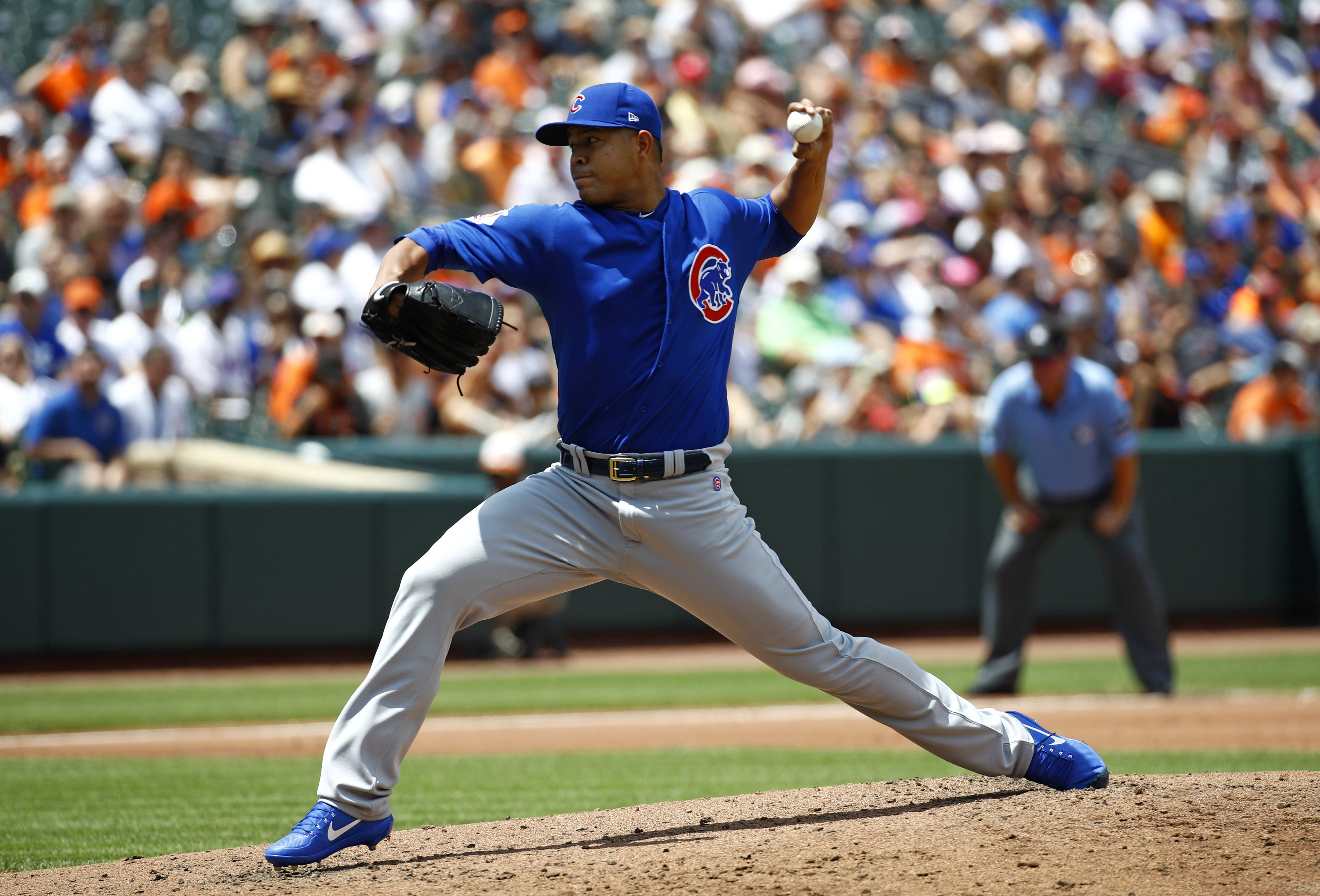 Chicago Cubs starting pitcher Jose Quintana throws to the Baltimore Orioles in the second inning of a baseball game in Baltimore, Sunday, July 16, 2017.